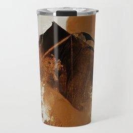 abstract mountains, rustic orange sunrise Travel Mug