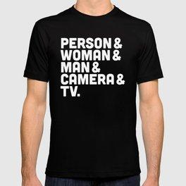 Person Woman Man Camera TV T-shirt