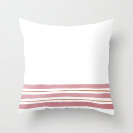 Simple Painted Stripes Rose Throw Pillow