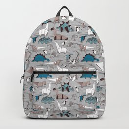 Origami dino friends // grey linen texture blue dinosaurs Backpack