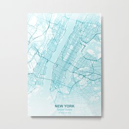 New york city map aqua blue Metal Print