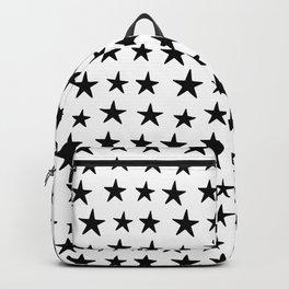 Star Pattern Black On White Backpack