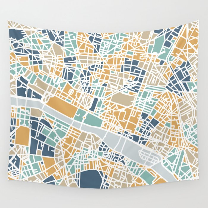 Paris map Wandbehang