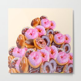 PHOTO PINK & CHOCOLATE  DONUTS ART Metal Print