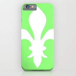 Fleur de Lis (White & Light Green) iPhone Case