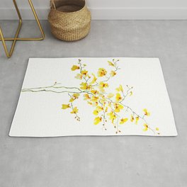 yellow Oncidium Orchid watercolor Rug