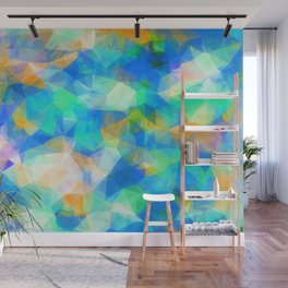 geometric triangle pattern abstract background in blue green orange Wall Mural