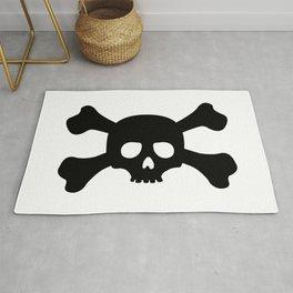 Simple Black Skull and Crossbones Rug