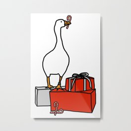 White Goose Steals Christmas Metal Print
