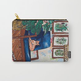 Ginger Cat on Blue Mid Century Chair Painting Carry-All Pouch