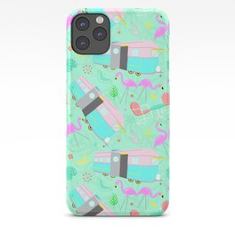 Midcentury Retro Yard Flamingos + Campers iPhone Case