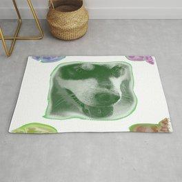 colorful dog faces, dog fan, dog lover Rug