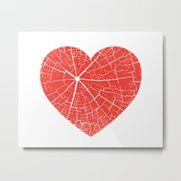 Cracked Heart Tree Print Metal Print