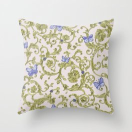 Butterfly Leaf Baroque Floral Throw Pillow