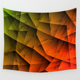 Tinted contrasting red fragments of green crystals on irregularly shaped triangles. Wall Tapestry