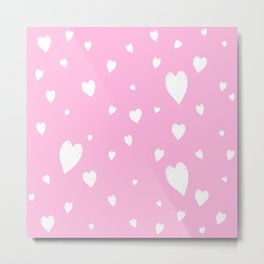 Hand-Drawn Hearts (White & Pink Pattern) Metal Print