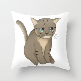 Staring Kitten Throw Pillow