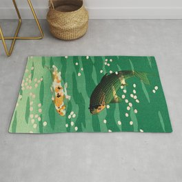 Vintage Japanese Woodblock Print Asian Art Koi Pond Fish Turquoise Green Water Cherry Blossom Rug