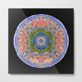 Weathered Tibetan African Merge Mandala for Ancestor Visits Metal Print
