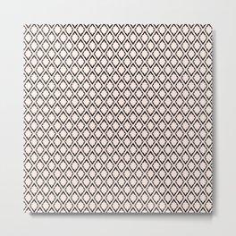 French Pattern Repeating Diamonds Light Pink Metal Print