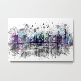 Modern Art NEW YORK CITY Skyline | Splashes Metal Print