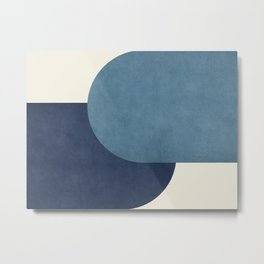 Halfmoon Colorblock - Blue Metal Print
