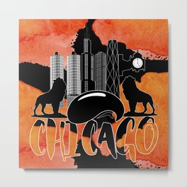 Chicago Iconic Landmarks Abstract Cityscape Metal Print
