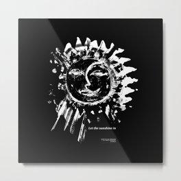 Sun and moon black ad white drawing Metal Print