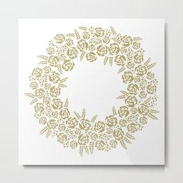 christmas floral wreath Metal Print