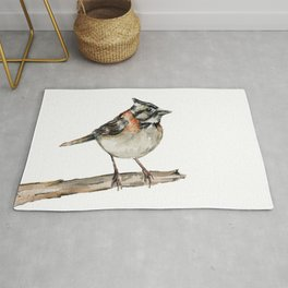Sparrow on Branch Watercolor Painting Rug