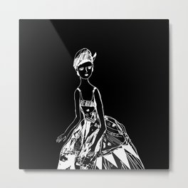 French girl black-white illustration Metal Print