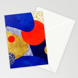 Terrazzo galaxy blue night yellow gold orange Stationery Cards