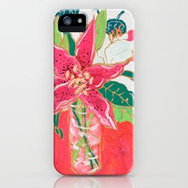 Pink and White Lily Bouquet with Matisse Wallpaper iPhone Case