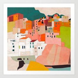italy coast houses minimal abstract painting Art Print