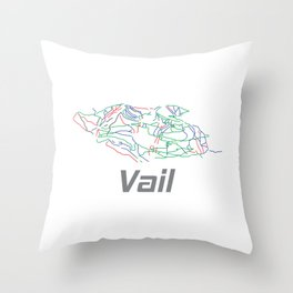 Vail Colorado Ski Pist Map Gift Throw Pillow