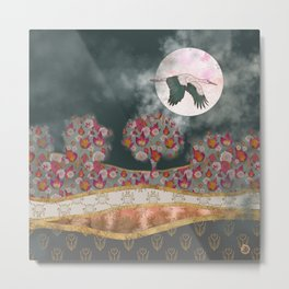 Moonlight Stork Metal Print