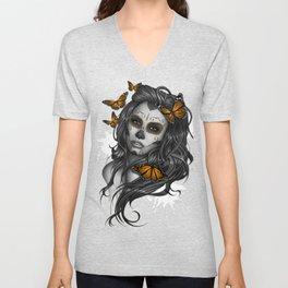 Sugar Skull Tattoo Girl with Butterflies Unisex V-Neck