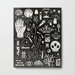 Curiosities: Bone Black Metal Print