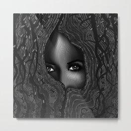 The Seer - Black & White Metal Print