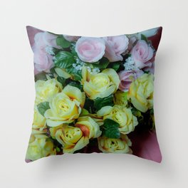 Pink and Yellow Roses Throw Pillow