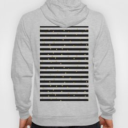 Modern black white gold polka dots striped pattern Hoody