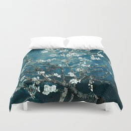 Van Gogh Almond Blossoms : Dark Teal Duvet Cover