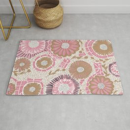 Pink & Gold Flowers Rug