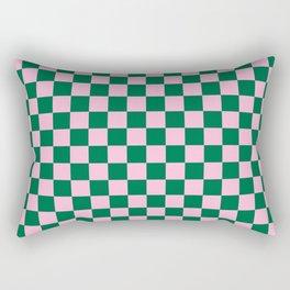 Cotton Candy Pink and Cadmium Green Checkerboard Rectangular Pillow