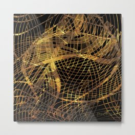 Gold Leaf Layered Gossamer 3D Abstract Metal Print
