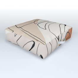 Minimal Abstract Art- Monstera Outdoor Floor Cushion