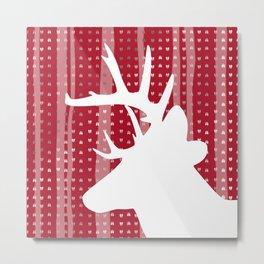 Eleghant Red Deer Holiday Design Metal Print