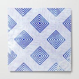 Geometric Diamond Tile Pattern Indigo Metal Print
