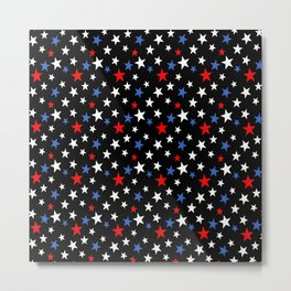 Bold Patriotic Stars In Red White and Blue on Black Metal Print