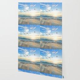 Ocean Beach Waves Sunset Photo Wallpaper